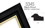 black wood with gold lip picture frame